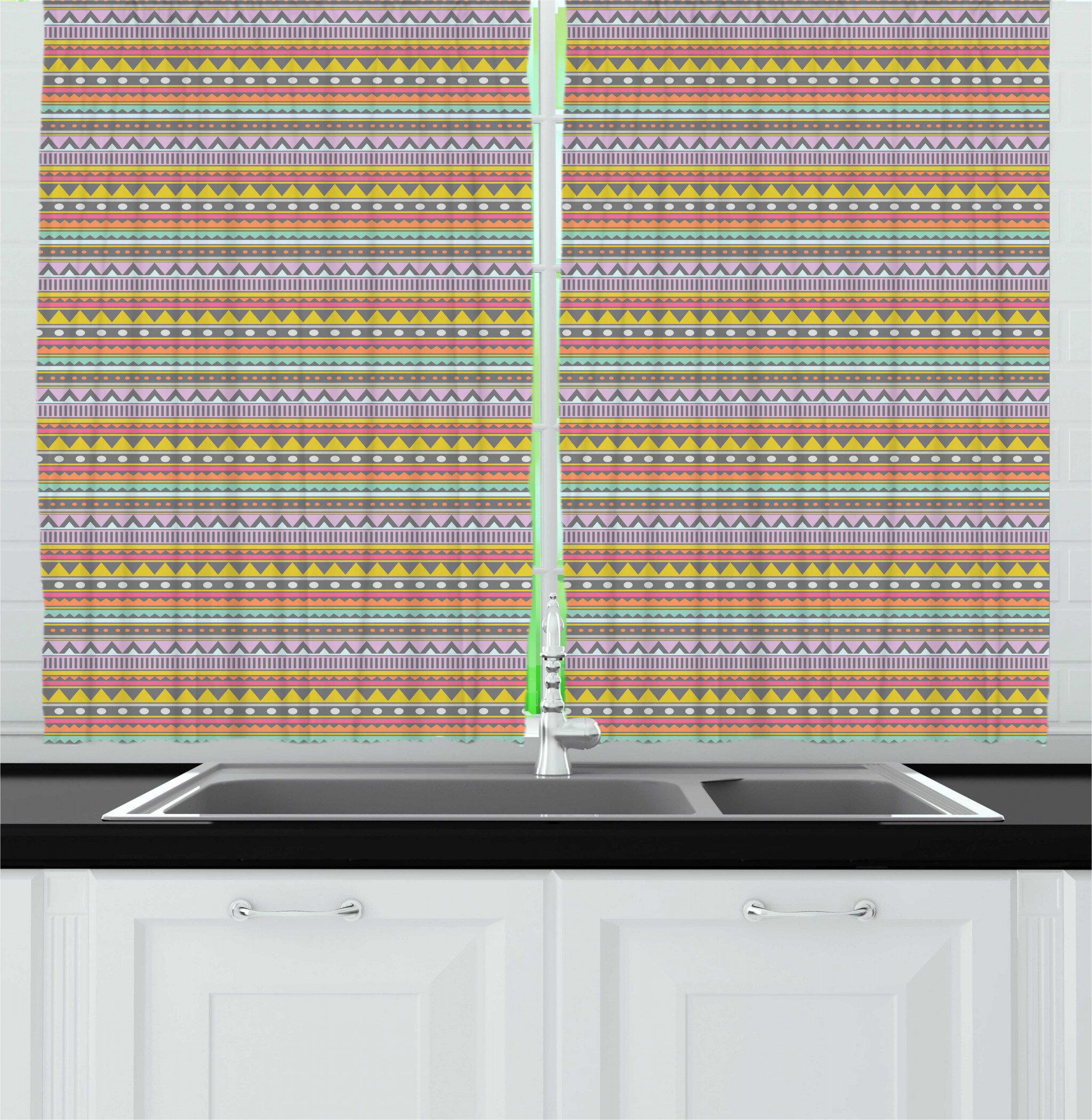 East Urban Home Boho Colorful Pastel Tone Horizontal Order Lines Pattern With Various Ornaments Graphic Kitchen Curtain Wayfair