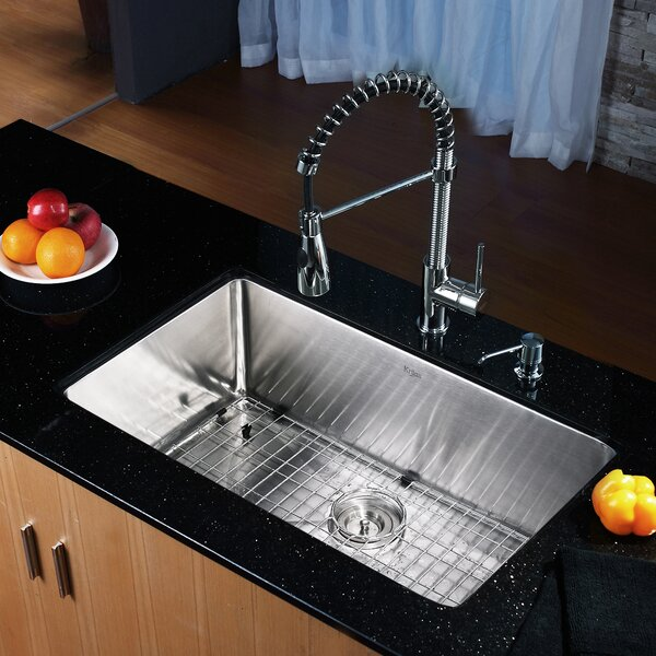 30 L x 18 W Undermount Kitchen Sink with Faucet and Soap Dispenser by Kraus