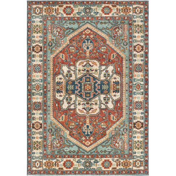 Naranjo Sea Foam/Rust Area Rug by World Menagerie