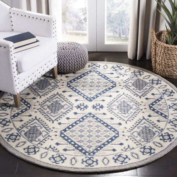 Celeste Hand-Tufted Wool Ivory/Blue Area Rug by Foundry Select