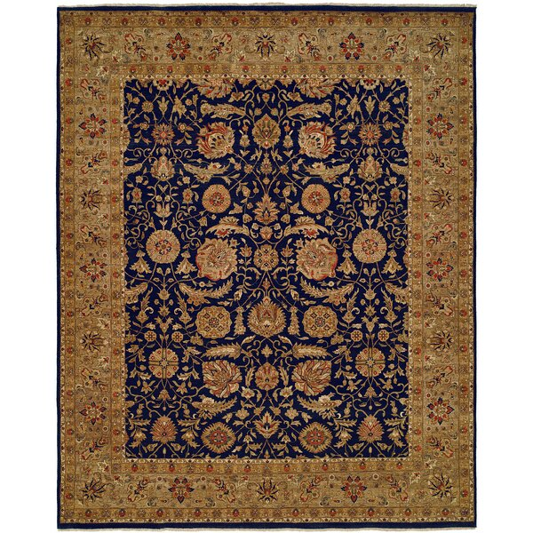 Diphu Hand-Knotted Navy/Camel Area Rug by Meridian Rugmakers