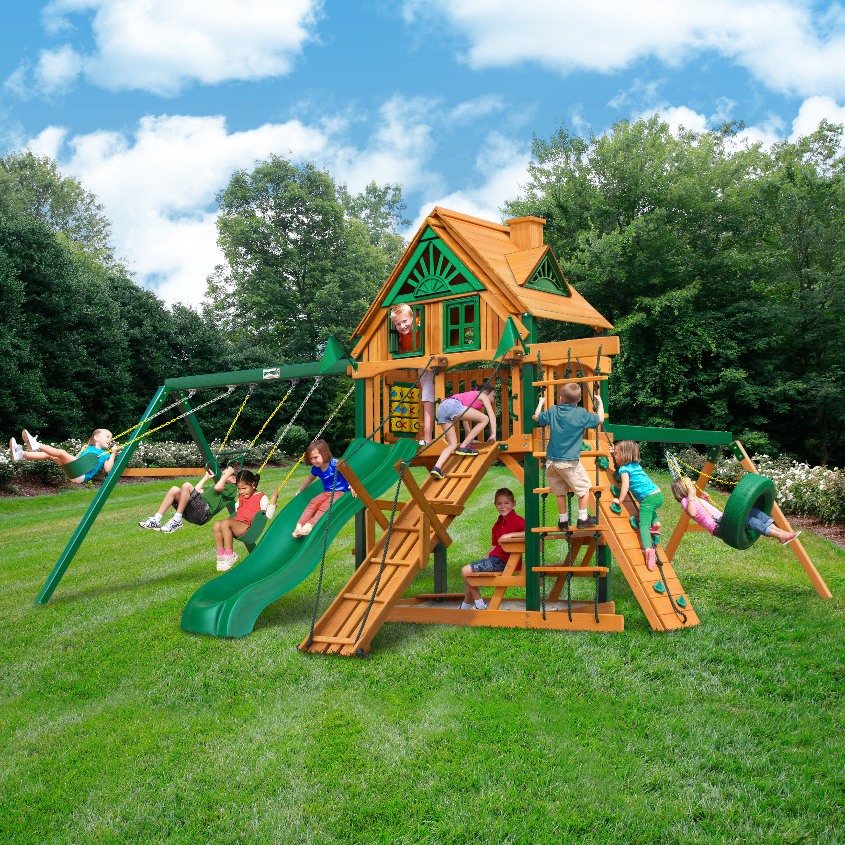 Picture of: Gorilla Playsets Frontier Treehouse Timber Shield Swing Set With Wood Roof Reviews Wayfair