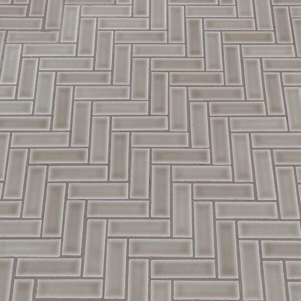 Highland Park Herringbone 1 x 3 Ceramic Mosaic Tile in Dove Gray by MSI
