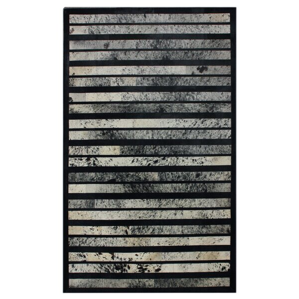 Belgrave Falls Patchwork Hand-Woven Cowhide Black/Off White Area Rug by Foundry Select