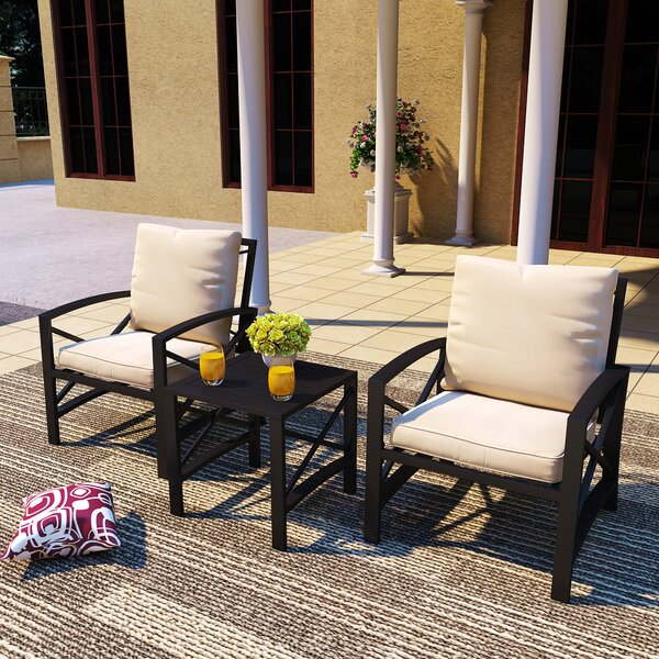 Nero 3 Piece Seating Group with Cushions by Longshore Tides