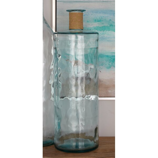 Glass with Raffia Floor Vase by Cole & Grey