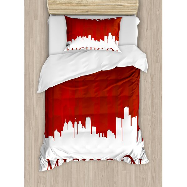 Detroit Michigan City Silhouette and Composition Classical Typography Duvet Set by East Urban Home