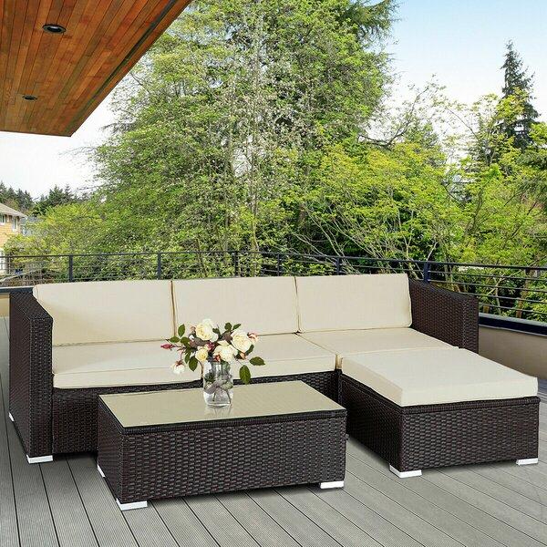 Ledbury 5 Piece Rattan Complete Patio Set with Cushions by Ebern Designs