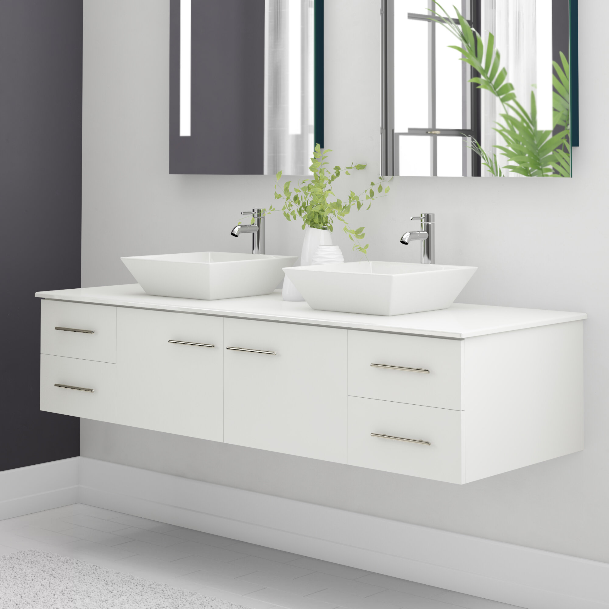 Orren Ellis Vinit 60 Wall Mounted Double Bathroom Vanity Set Reviews Wayfair