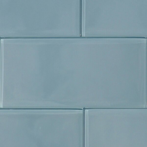 Shiny 4.75 x 13 Glass Field Tile in Blue by The Bella Collection