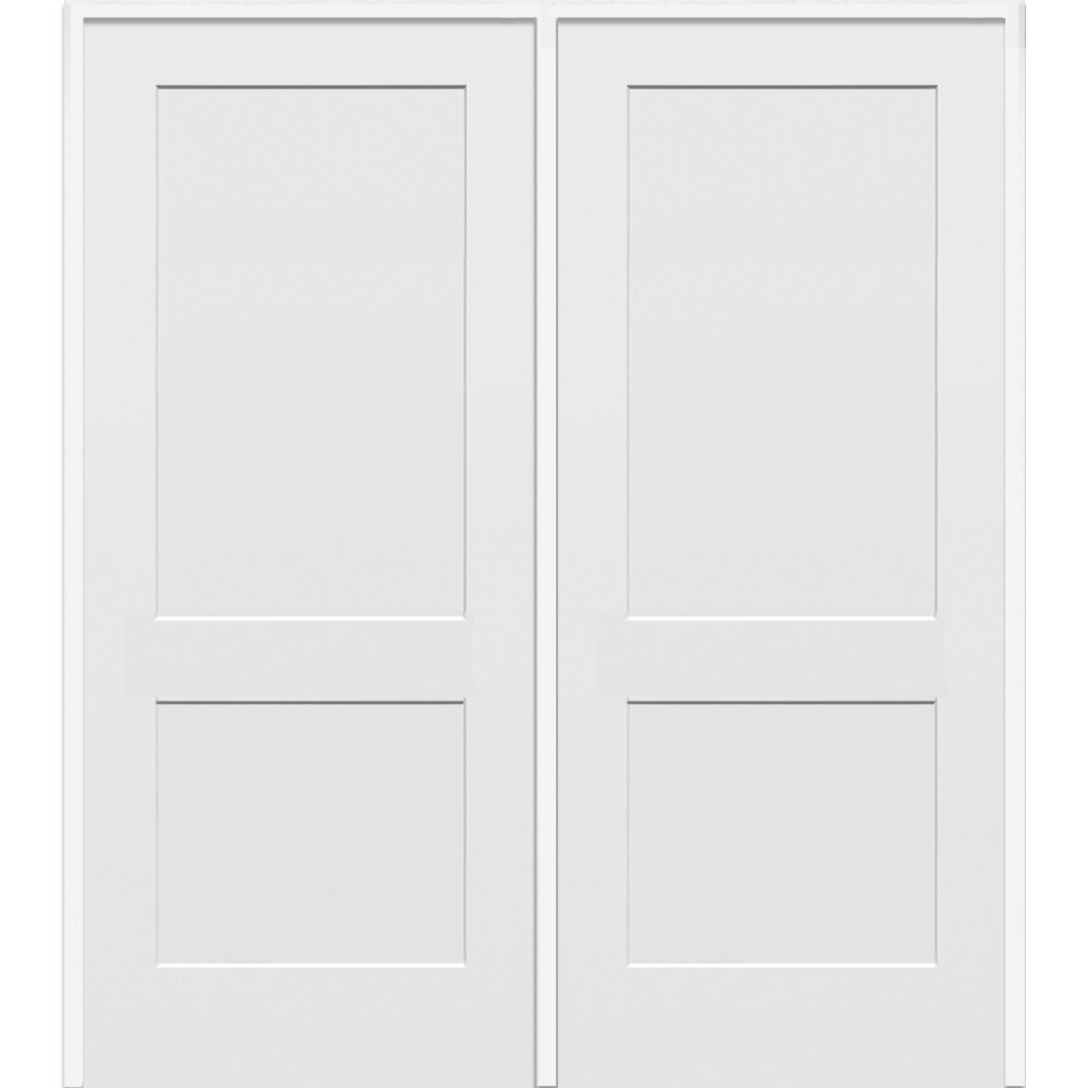 Verona Home Design 2 Flat Panel Double Solid Manufactured Wood Paneled MDF  Prehung Interior Door | Wayfair