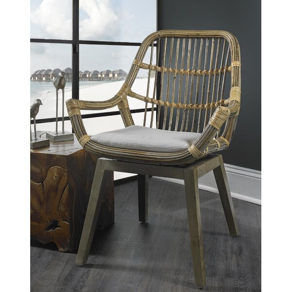Briarwick Slat Back Arm Chair In Natural By Bungalow Rose