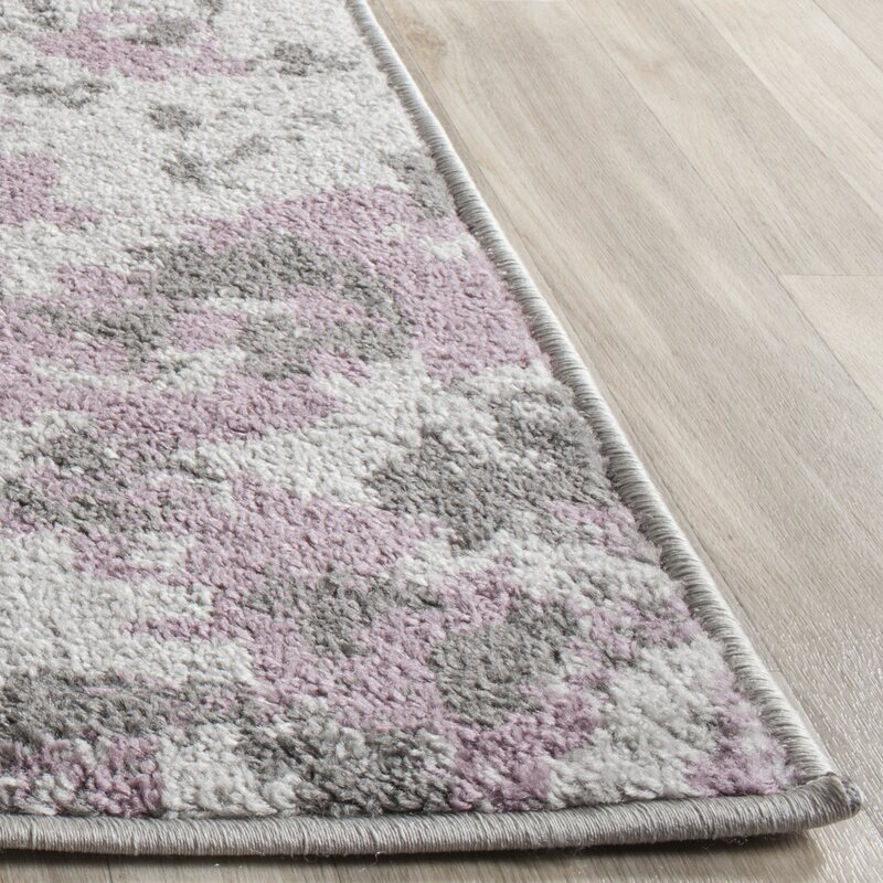 Ales Light Grey Purple Area Rug