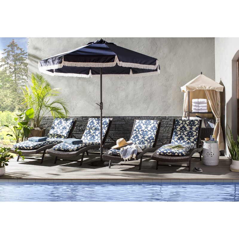 Noelle Reclining Chaise Lounge Set With Table Amp Reviews