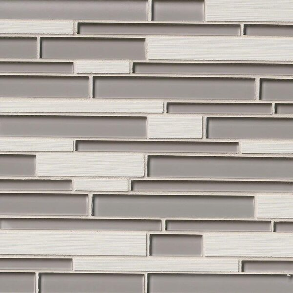 Metro Glacier Blend Interlocking Random Sized Porcelain/Glass Mosaic Tile in Gray by MSI