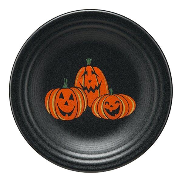Trio of Happy Pumpkins Luncheon 7 Dessert Plate by Fiesta