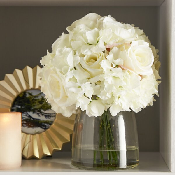 Hydrangea and Rose Arrangement in Glass Vase by Greyleigh
