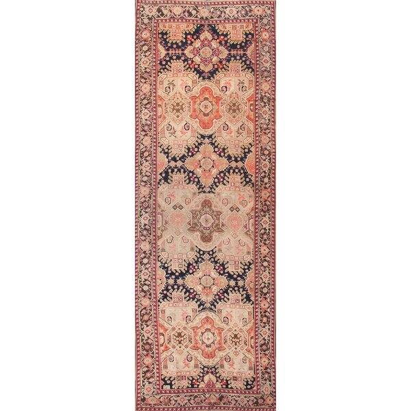 Karabakh Antique Hand Knotted Wool Navy/Brown Area Rug by Pasargad