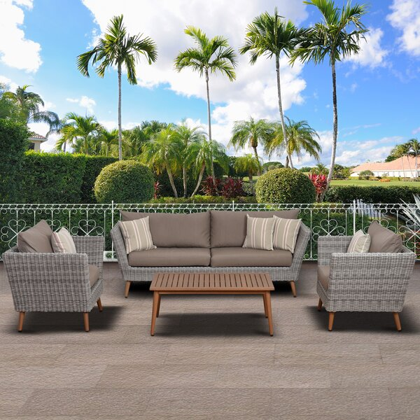 Coast 4 Piece Rattan Sofa Seating Group with Cushions by Beachcrest Home
