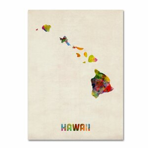 'Hawaii Map' by Michael Tompsett Framed Graphic Art on Wrapped Canvas by Trademark Fine Art