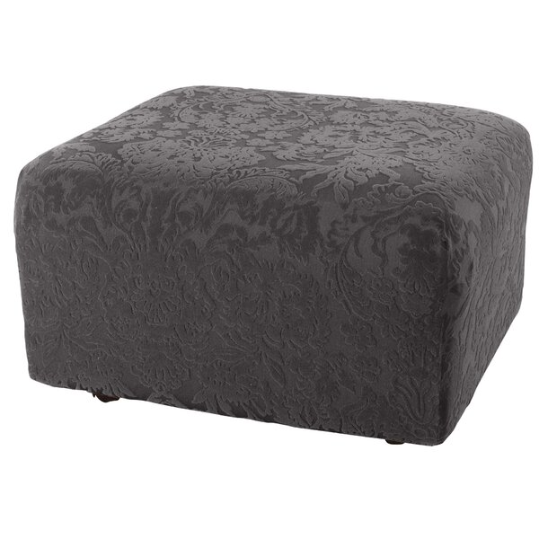 Stretch Jacquard Damask Box Cushion Ottoman Slipcover By Sure Fit