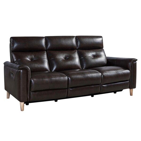 Yoshioka Leather Reclining Sofa by Red Barrel Studio