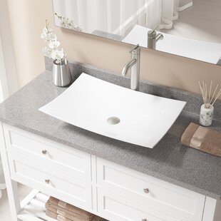 Best Vitreous China Rectangular Vessel Bathroom Sink with Faucet ByMR Direct