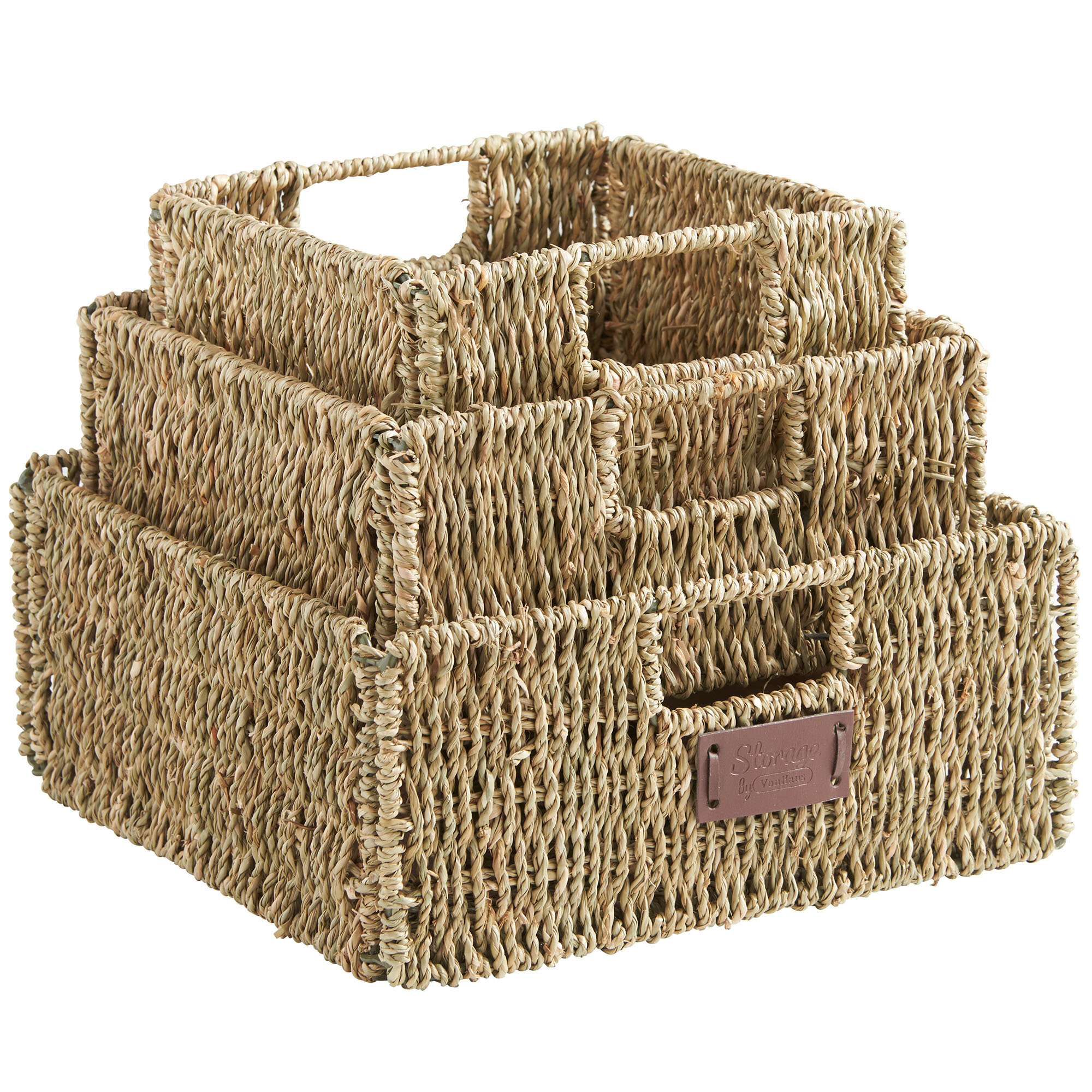 VonHaus 3 Piece Square Seagrass Storage Basket Set U0026 Reviews | Wayfair