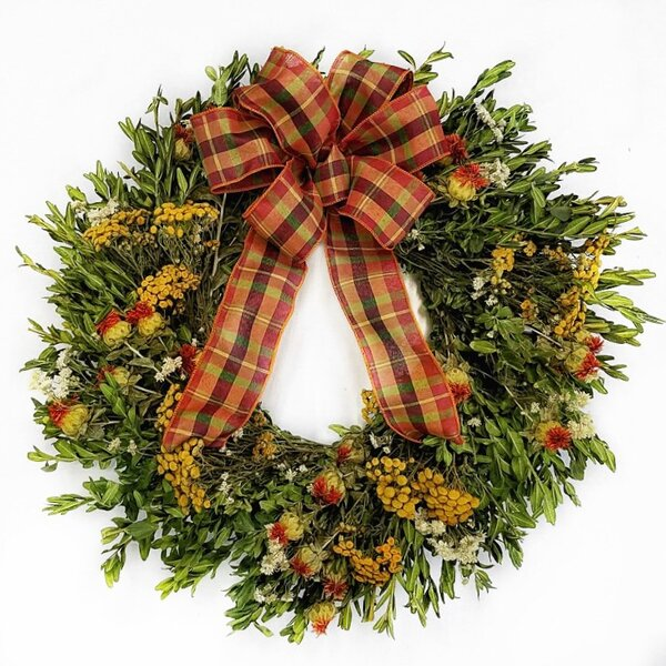 Fall 22 Wreath with Plaid Bow by Alcott Hill