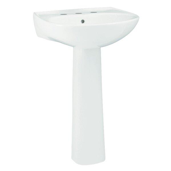 Sacramento Ceramic 22 Pedestal Bathroom Sink with Overflow by Sterling by Kohler