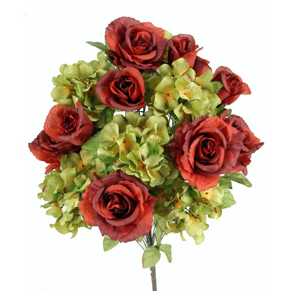 18 Stems Artificial Full Blooming Rose and Hydrangea with Greenery by August Grove