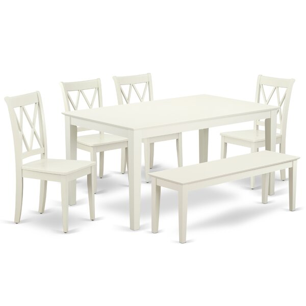 Laffey 6Pc Rectangular 60 Inch Table And 4 Double X Back Chairs Plus 1 Bench by East West Furniture