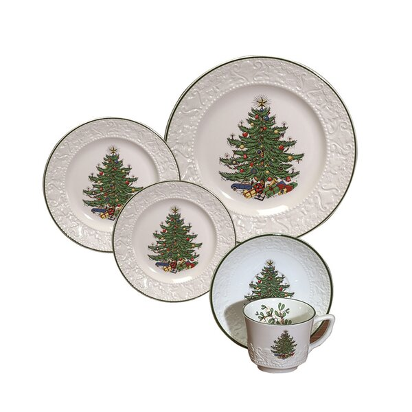 Original Christmas Tree Dickens Embossed 20 Piece Place Setting Set (Set of 20) by The Holiday Aisle