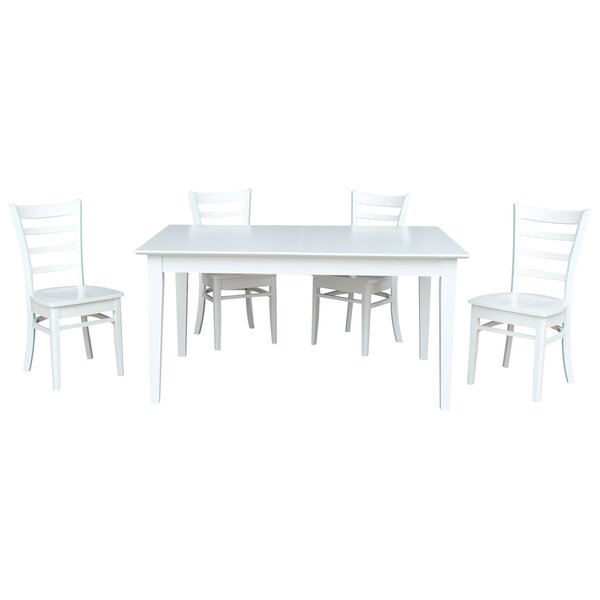 Chastain 5 Piece Extendable Solid Wood Dining Set by Rosecliff Heights