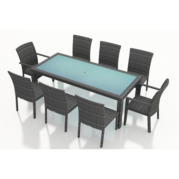 Hobbs 9 Piece Sunbrella Dining Set by Rosecliff Heights