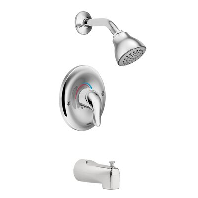 Chateau Tub and Shower Faucet with Lever Handle and Posi-Temp Moen Finish: Chrome -  L2353