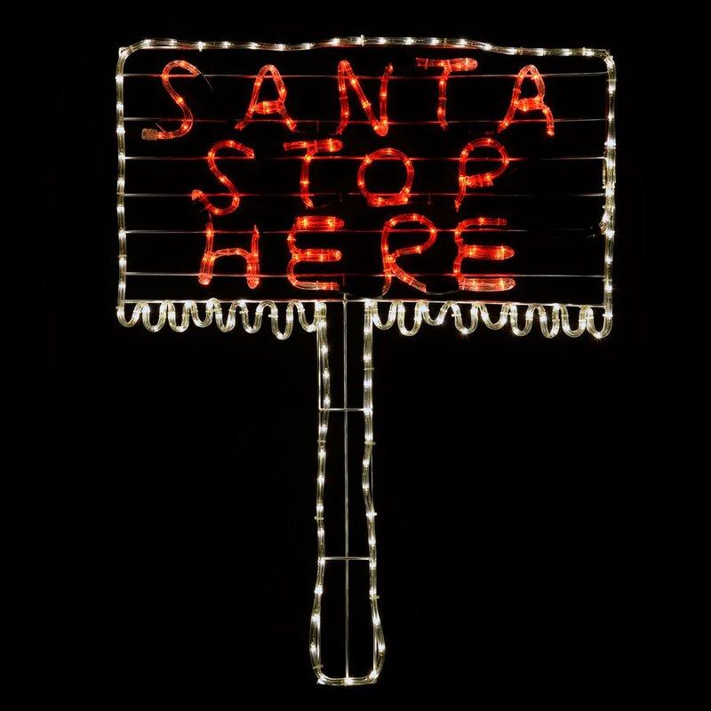 The seasonal aisle santa stop here sign 24 light led rope light santa stop here sign 24 light led rope light aloadofball Images