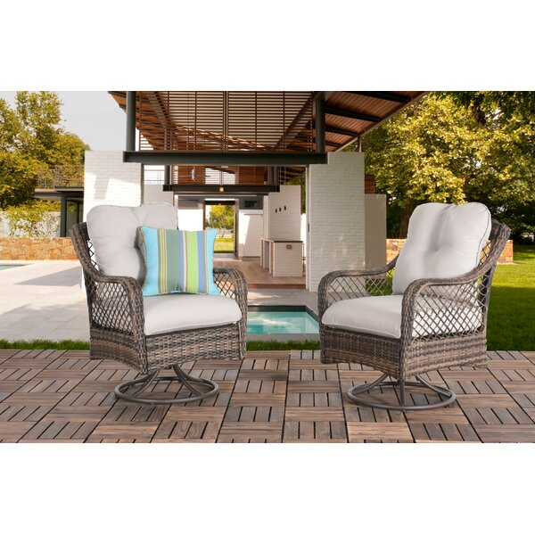 Wang Wicker Swivel Patio Chair with Cushions (Set of 2) by Bay Isle Home
