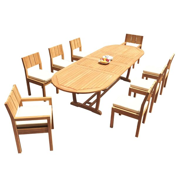 Shiey 9 Piece Teak Dining Set by Rosecliff Heights