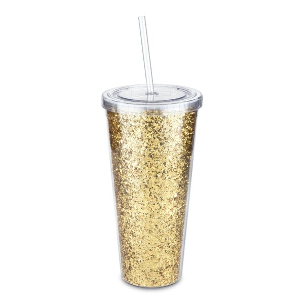 Glam Glitter 24 oz. Plastic Travel Tumbler by Blush