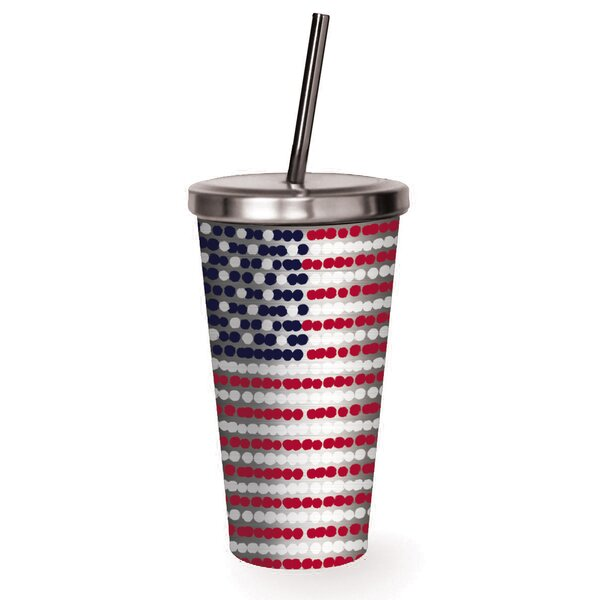 Demitri American Flag 16 oz. Stainless Steel Travel Tumbler by Latitude Run