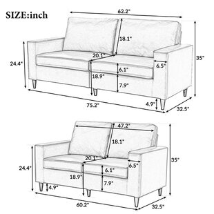 2 Piece Standard Living Room Set,Black by Latitude Run®