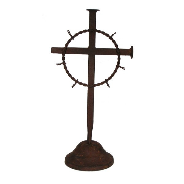 Metal Crown of Thorn Table Cross Sculpture by Wilco Home