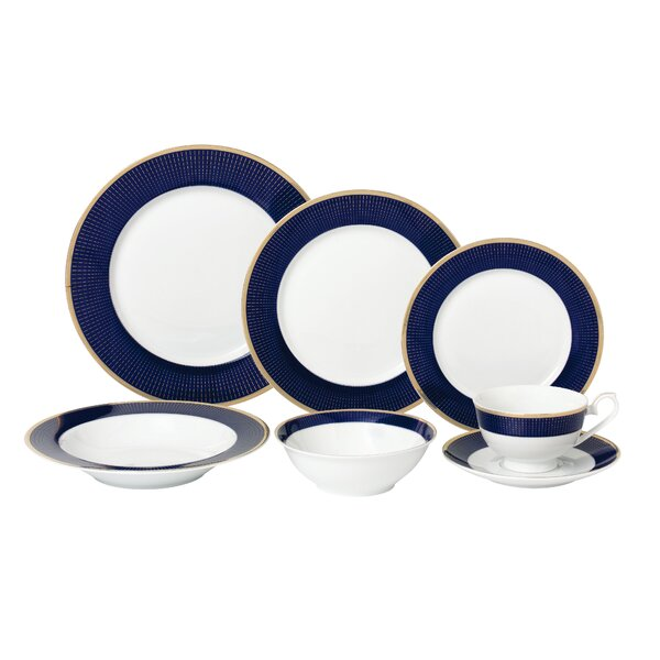 La Luna Bone China 28 Piece Dinnerware Set, Service for 4 by Lorren Home Trends