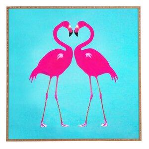 Flamingo Heart Framed Painting by Latitude Run