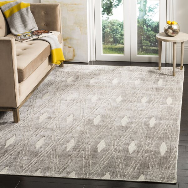 Maxim Hand-Knotted Silver Area Rug by Brayden Studio