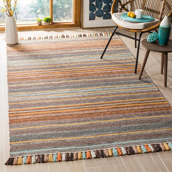 Trenton Hand-Woven Cotton Brown/Gray Area Rug by Bungalow Rose
