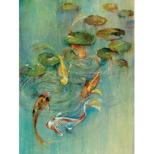 'Koi at Play' Painting Print on Wrapped Canvas by Three Posts