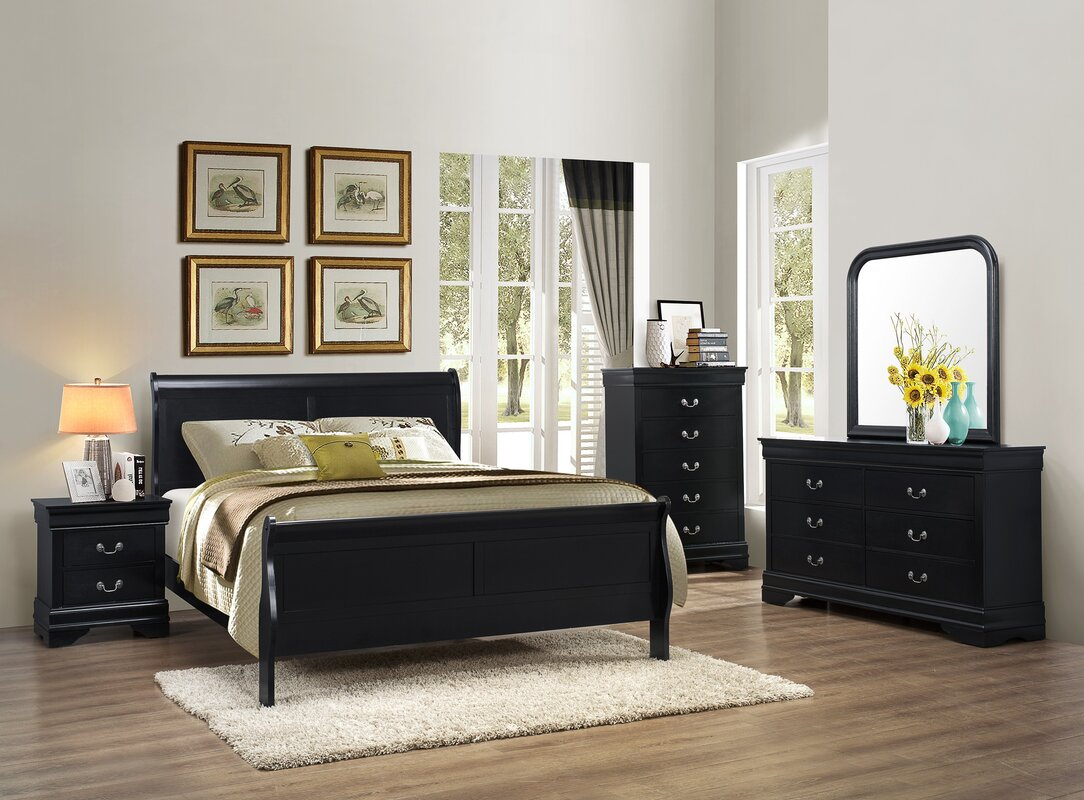 Roundhill Furniture Isony 594 Louis Philippe Sleigh Configurable ...