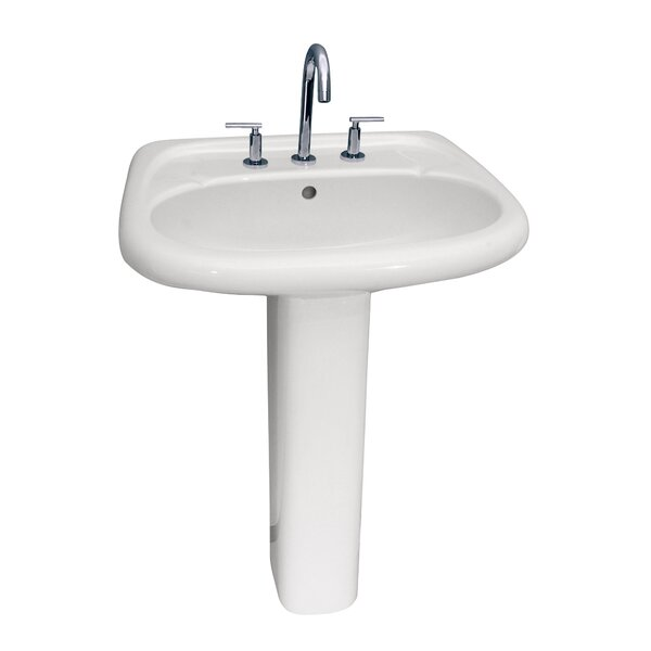 Flora Lavatory Vitreous China 24.5 Pedestal Bathroom Sink with Overflow by Barclay